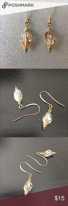 Swarovski crystal dangle earrings Gold Swarovski crystal earrings with Topaz colored crystals. Homemade Jewelry Earrings