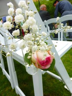 Adorable vases on ceremony chairs English Roses, Wedding Receptions, Rustic Charm, Vases, Rustic Wedding, Centre, Home And Family, Chairs, Table Decorations