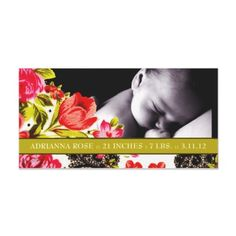311-VIBRANT GARDEN BABY ANNOUNCEMENT PHOTO GREETING CARD