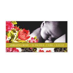 311-VIBRANT GARDEN BABY ANNOUNCEMENT PHOTO GREETING CARD