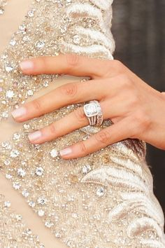 look at that ring! Cushion cut with halo + the band