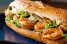 Spicy Shrimp Sandwich with Chipotle Avocado Mayonnaise - or put avocado slices instead of mixing it into the mayo