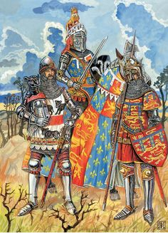 English high knights during the hundreds year war late Middle Ages History, Early Middle Ages, Medieval Knight, Medieval Armor, Medieval Banner, English Knights, Woodstock, Classical Antiquity, Knight Art