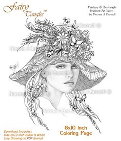 a fairies hat fairy tangles printable coloring sheets for adults by norma j burnell coloring book pages fairies grayscale images to color