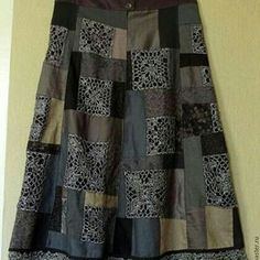 Denim and Lace Patchwork Skirt Crochet Skirt Pattern, Crochet Skirts, Crochet Fabric, Freeform Crochet, Crochet Patterns, Black Crochet Dress, Crochet Blouse, Sewing Clothes, Crochet Clothes