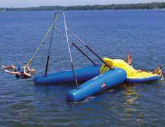 Rope swing on a floatie. WHOA! :D