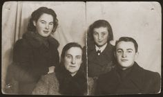 Group portrait of the Dunski family.    Pictured from left to right are: Genia, Fajga, Sala and Tzvi. This photograph was sent to Frania and Haime who were then imprisoned in the Ober Altstadt labor camp.