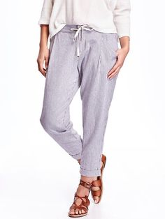 Cropped Linen-Blend Pants for Women Product Image