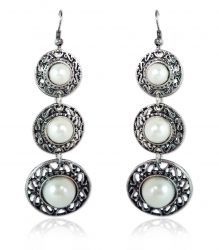 Pearl Antiqued Silver Triple Dipper Earrings