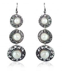 Pearl Antiqued Silver Triple Dipper Earrings