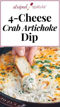 Crab Artichoke Dip - - Crab Artichoke Dip Appetizers and Snacks If you love cheesy crab dip, this is the recipe for you! Easy to make and filled with lump crabmeat, this hot Crab and Artichoke Dip is a crowdpleaser appetizer for game day and beyond. Crab Dip Recipes, Seafood Recipes, Cooking Recipes, Canned Crab Recipes, Cheese Ball Recipes, Fudge Recipes, Restaurant Recipes, Vegan Recipes, Yummy Appetizers