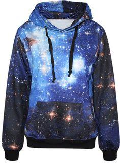 Autumn Winter Galaxy Print Punk Women Hoodies New Fashion Leaf Print Coat With Pocket Digital Print Hooded Pullovers