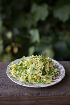 Brussels Caesar! A tasty Caesar salad with some heartier greens involved…use a mandolin to shred the Brussels sprouts, or simply cut them into very fine slices. Toss all with your favorite Caesar dressing and enjoy! Have a great weekend! PS- this is what Brussels Sprouts look like when they grow!