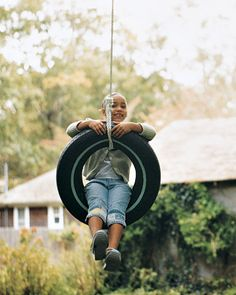 DIY Tree Tire  Swing by marthastewart #Kids #Tire_Swing
