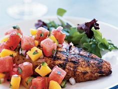 Marinated Grilled Chicken Breast with Watermelon-Jalapeño Salsa  Marinated Grilled Chicken Breast with Watermelon-Jalapeño Salsa