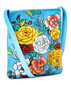 Another great find on #zulily! Blue & Red Bloom Hand-Painted Crossbody Bag #zulilyfinds