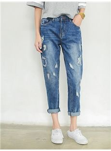 2015秋新品ファッション クラッシュ 軽めダメージ ボーイフレンドジーンズ