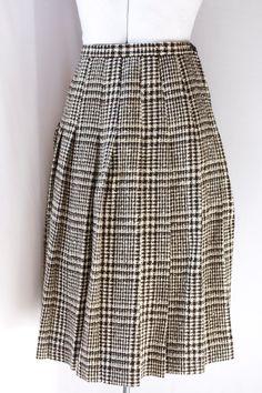 Vintage 50's B Wool Tweed Pleated Skirt by PomegranateVintage, $36.99
