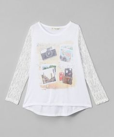 Look at this #zulilyfind! Cream Photo Collage Hi-Low Tee - Girls #zulilyfinds