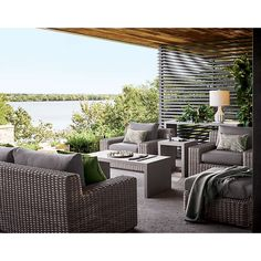 Cayman Outdoor Ottoman with Grey Cushion + Reviews | Crate and Barrel Deep Seat Cushions, Grey Cushions, Outdoor Cushions, Outdoor Lounge, Outdoor Seating, Outdoor Spaces, Outdoor Living, Outdoor Decor, Furniture