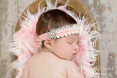 pink baby headband...infant headband....baby headband....flower headband...newborn headband...photo prop. , via Etsy.