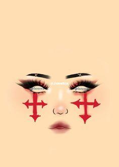 Makeup Gothic, Punk Makeup, Dope Makeup, Anime Makeup, Makeup Eye Looks, Clown Makeup, Crazy Makeup, Pretty Makeup, Makeup Inspo