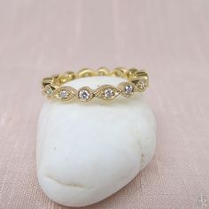 Round and Marquise Motif Eternity Band in Yellow Gold- $795