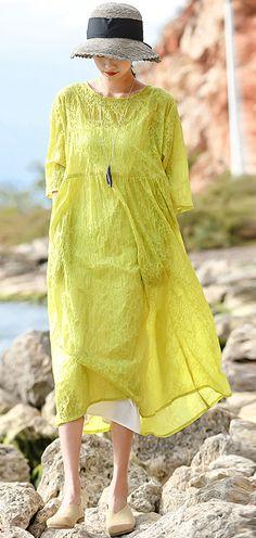 66fab354b533 DIY o neck linen Robes top quality Catwalk yellow dotted loose Dress summe  Summer Maxi,