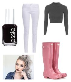 """""""Untitled #112"""" by brenna-belle on Polyvore featuring J Brand, Hunter, Topshop and Essie"""