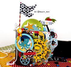 """Скрапля: """"Все на Абордаж!!!"""" или МК по миниальбому необычной формы от Nasty_Art All Paper, Paper Art, Paper Crafts, Tarjetas Pop Up, Handmade Books, Scrapbook Albums, Mini Books, Paper Design, Cute Kids"""