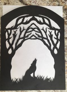 Before: Forest canopy with werewolf silhouette I drew and cut from cardstock for my sweet A