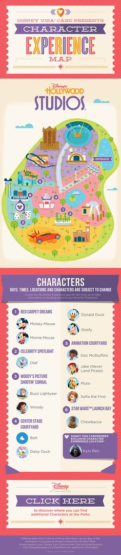 Hollywood Studios Character Experience Map