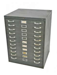 oversized freestanding 1950's heavy duty american industrial salvaged chicago factory multi-drawer blueprint filing cabinet or flat file