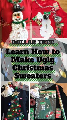 It's Ugly Christmas Sweater Time. Learn to DIY 3 Tacky sweaters from the dollar tree. #ad #dollarstore #christmas