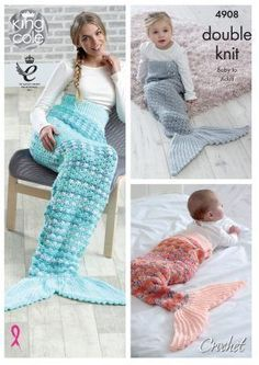 Mermaid tail blanket crochet pattern from King Cole made in Double Knitting yarn pictured using Glitz 565 Silver Baby Glitz 1720 Peach and 102 Mint Crochet Mermaid Tail Pattern, Mermaid Tail Blanket Pattern, Mermaid Baby Blanket, Knitted Mermaid Tail Blanket, Crochet Blanket Patterns, Baby Knitting Patterns, Baby Patterns, Knitting Yarn, Crochet Doll Tutorial