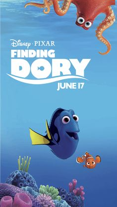 Summer's biggest blockbuster of 2016 (thus far). Disney Movie Posters, Disney Cartoons, Disney Pixar, Disney And More, Disney Love, Diy Birthday Themes, Dory Finding Nemo, Cartoon Movies, Disney Family
