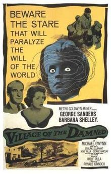 Village of the Damned is a 1960 British science fiction film by German director Wolf Rilla. The film is a fairly faithful adaptation of the novel The Midwich Cuckoos by John Wyndham. The lead role of Professor Gordon Zellaby was played by George Sanders. This film was #92 on Bravo's 100 Scariest Movie Moments. A sequel, Children of the Damned, followed in 1963.