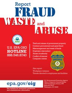 The EPA itself needs reporting: https://www.epa.gov/sites/production/files/2016-05/epaoig_hotline_poster.png