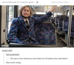 Guys wearing suits made from Sydney Buses seats. Meanwhile In Australia, Important Things In Life, Country Outfits, Tumblr Posts, Funny Photos, Sydney, Menswear, Humor, Guys