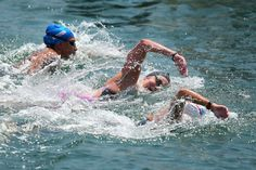 Ana Marcela Cunha of Brazil, Keri­Anne Payne of Great Britain and Kalliopi Araouzou of Greece in action during the Open Water Swimming Women's 10k race on day four of the 15th FINA World Championships at Moll de la Fusta on July 23, 2013 in Barcelona, Spain.
