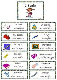 vocabulaire mur de mots la rentrée, l'école