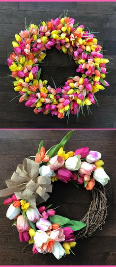 When I see tulips, I think of Spring and I'm SO ready for Spring!  Spring decor, Easter Front Door Decor, Tulip Decor, Easter Front Door Wreaths, Easter Decor, Spring Decor, Tulip Wreath, Wreath With Tulips, Wreath Tulips, home decor, porch decor, gift idea #ad