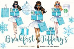 Breakfast at Tiffany's clipart fashion clipart planner graphics mug designs planner clipart Tiffany party clipart girly Printablehenry Watercolor Artists, Watercolor And Ink, Watercolor Fashion, Pencil Illustration, Graphic Illustration, Tiffany Girls, Tiffany Blue, Create Your Own Planner, Tiffany Party