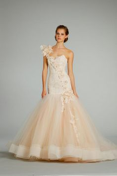 How lovely this Lazaro dress is with the cascading florals and dramatic silhouette.