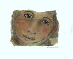 Original Art - Face on a Tea Bag