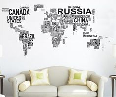 Free shipping !Letters Map of world Wall  Decals Art  Mural  Removable Vinyl Decal  Stickers N 49-in Wall Stickers from Home & Garden on Ali...