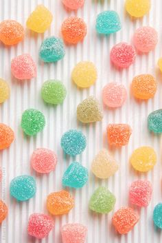 Colourful sugar candy on white background. by Eduard Bonnin Turina - Phone background. Colorful Candy, Candy Colors, Pastel Candy, Food Wallpaper, Iphone Wallpaper, Wallpaper Ideas, Pastel Cupcakes, Goodies, Sugar Candy