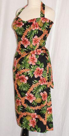 Vintage 1950s inspired Hawaiian sarong halter wiggle dress orange hibiscus on black S VLV rockabilly Viva by OuterLimitz on Etsy
