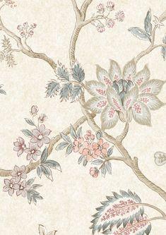 Bathroom Wallpaper, Home Wallpaper, Blue Floral Wallpaper, Vintage Wallpaper Patterns, Red Geraniums, Wallpaper Samples, Wallpaper Ideas, Blue Wallpapers, Shop Interiors