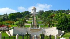 bahia gardens/temple in haifa, israel - lovely view both up and down.. and a great walk up the hill to enter -haha